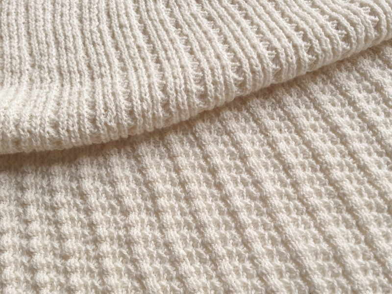 Saratoga Rib sweater knit fabric in natural white, sustainable cotton