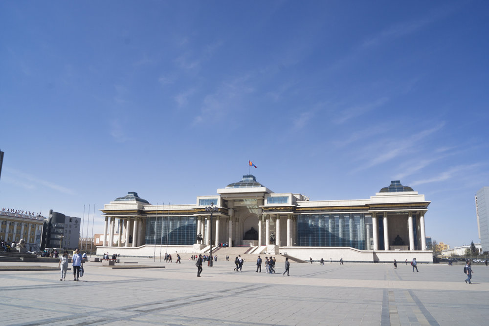 Mongolia's national parliament in spring.