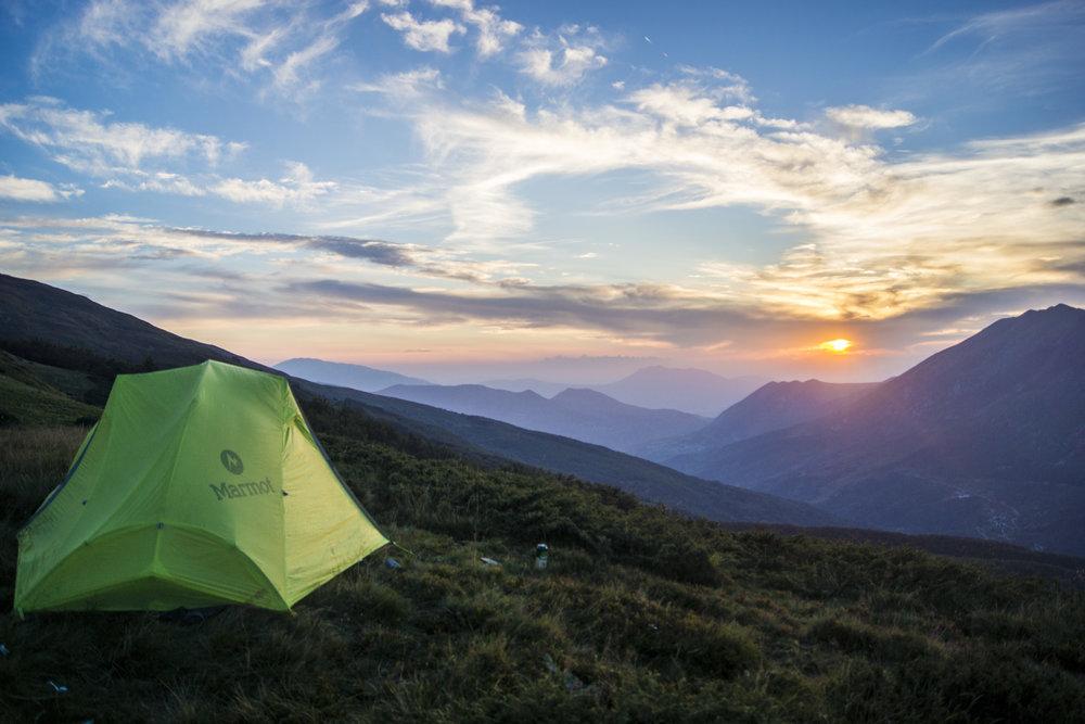 Sunset at camp. Prevalla, Kosovo.