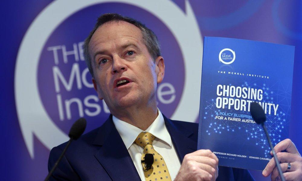 Bill Shorten launching the 'Choosing Opportunity' report.