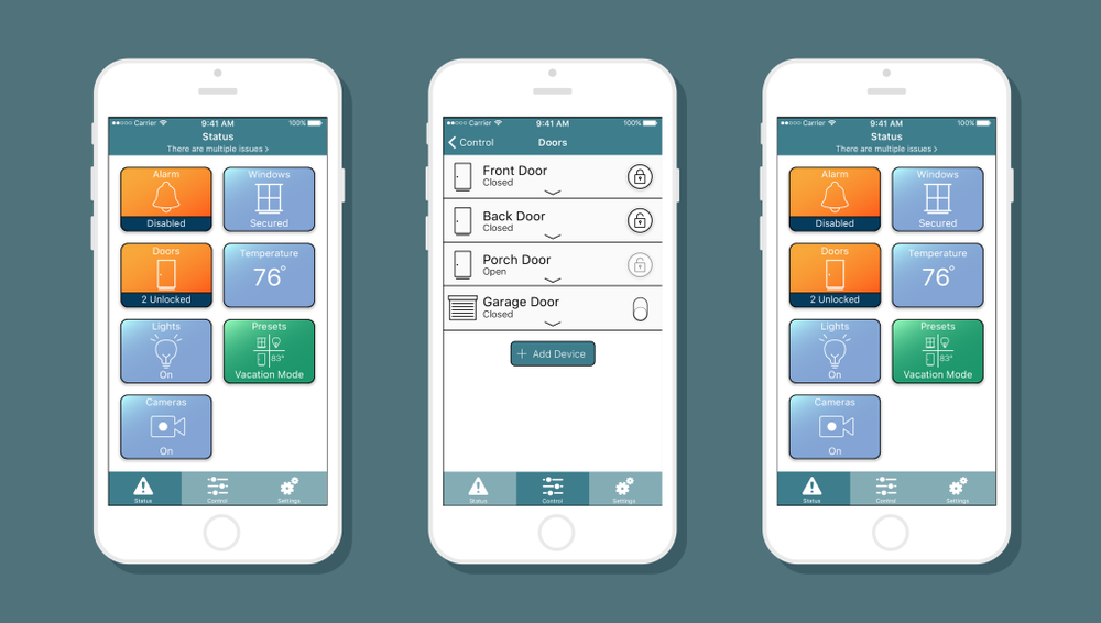 High-fidelity mockups of some of the HomeSafe app screens.