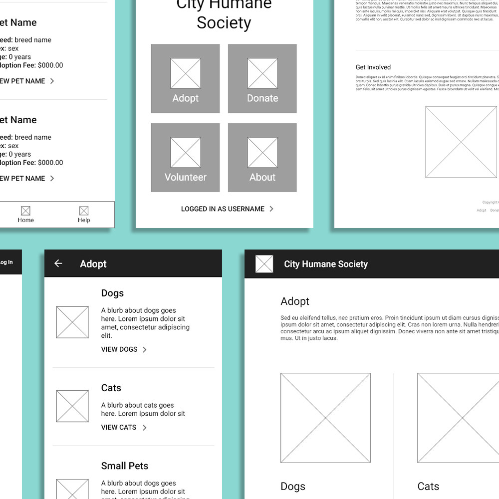 A7: INTERACTIVE PROTOTYPE, WIREFRAMES - It's the UX Designer's bread and butter: the wireframe. Here I'm making interactive wireframes for one portion of a pet adoption website that is both desktop- and mobile-friendly.Read more about A7 here >