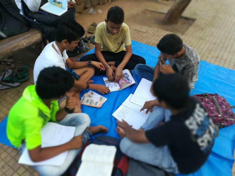 Children taking lessons at the Navjyot Foundation street school in Bandra, Mumbai.
