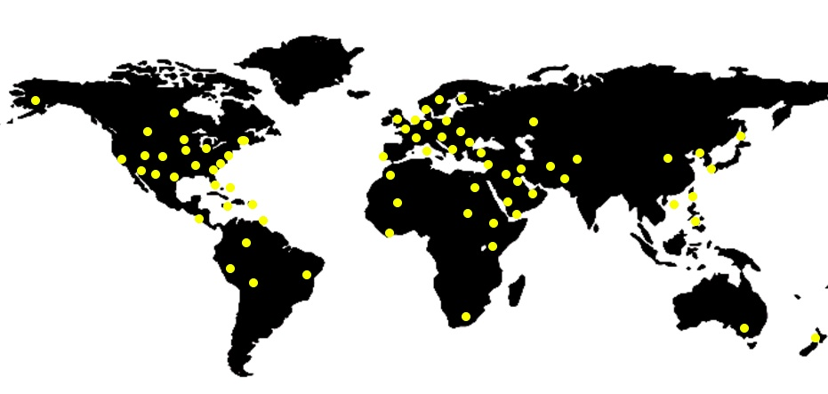 The yellow dots signify from where Dr. Rubinfeld's patients traveled to see him.