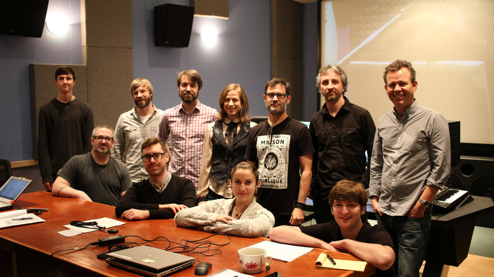 Pictured here in Pyramind's  Studio A  from left to Right are:  Back Row - Cole Smithers (Assistant Engineer),  Joel Raabe (Engineer), Olivier Girard (Ubisoft), Johannie Gervais (Ubisoft), Joey Cape (Talent), Paul Simmans (Engineer)  First Row - Tony Prescesky (Ubisoft) and Mathieu Daoust (Ubisoft), Ophylia Wispling (Pyramind VO Manager), Brandon Roos (Engineer)