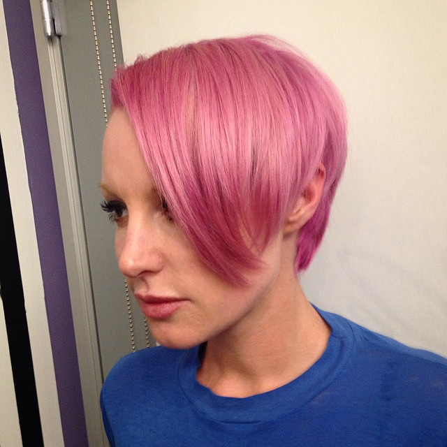 Pink explosion on the beautiful @emmahewittofficial ! Had fun making her custom pink with products from Rusk and Pravana. #rusk #pravana #pink #pinkhair #jenwas #jenwagivesgoodhair