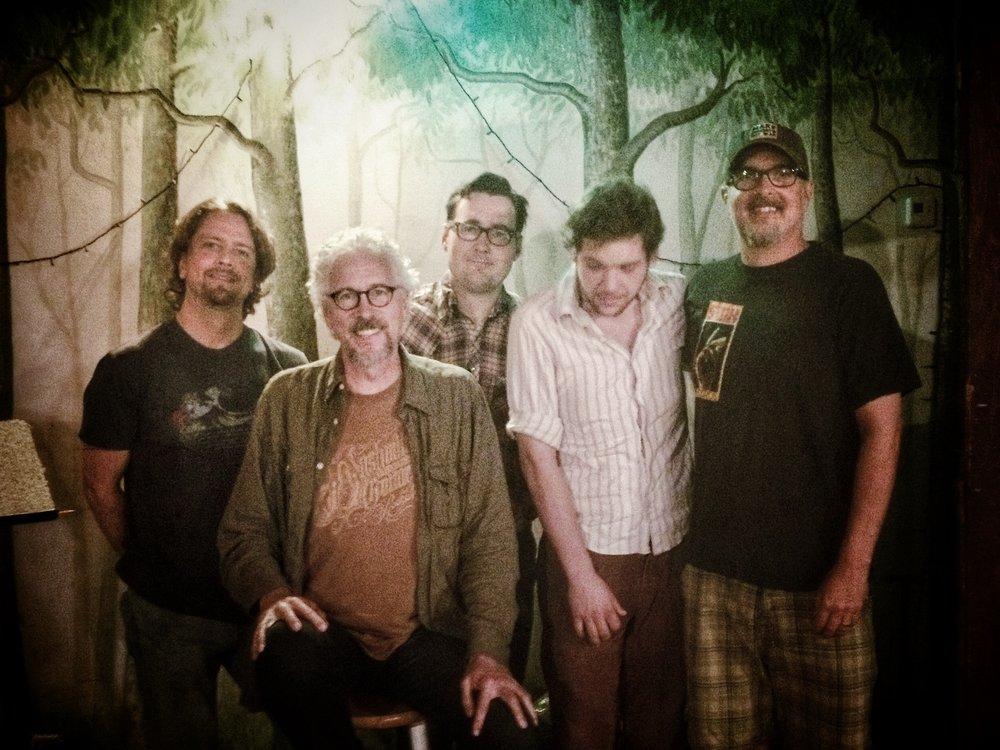 """Favorite Son"" session at Creative Workshop: L to R, Patrick Miller, Rick Clark, Chris Scruggs, Cody Brooks, Ken Coomer"