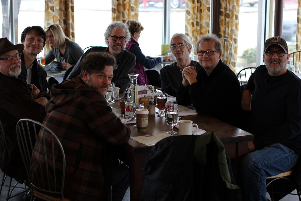 A Gathering of Deliverance Sisters in East Nashville @ Café Marché, L to R: Phil Madeira, Steve Taylor, John Painter, Rick Clark, Ross Rice, Tommy Womack, Ken Coomer