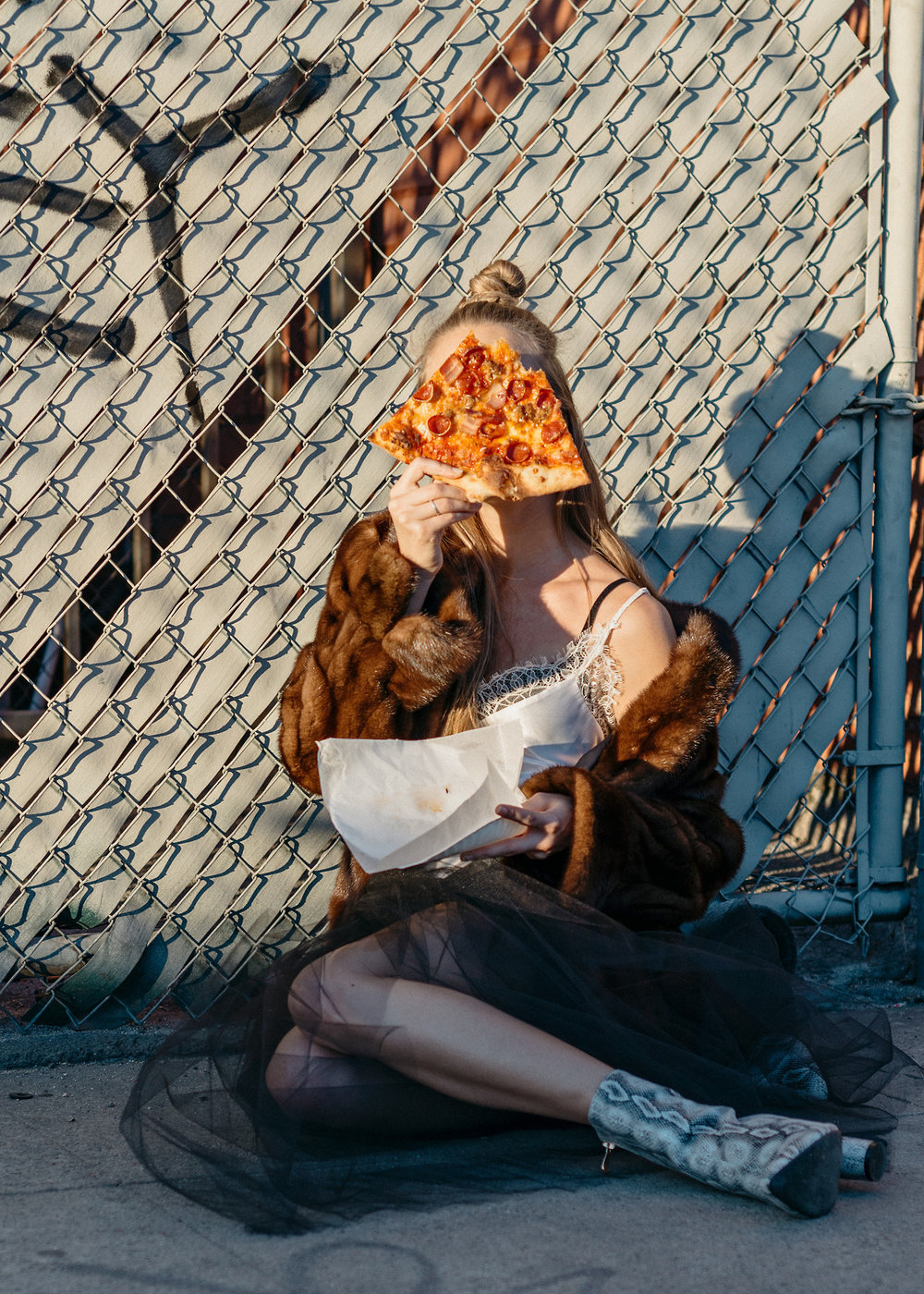 """Giving new meaning to the word""""pizza face."""" Photography by Michelle Corvino."""
