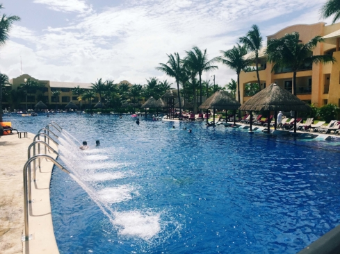 Part of the expansive pool at the resort (notice the chairs inside the pool!).