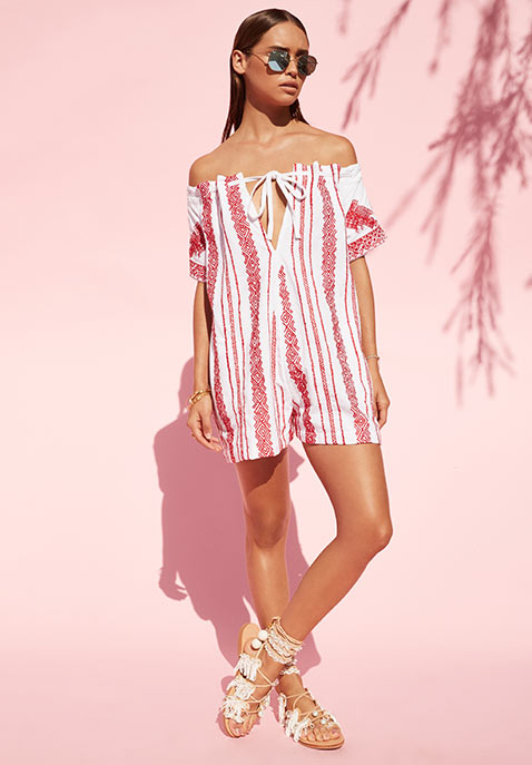 Linen Off the Shoulder Romper by Juliet Dunn