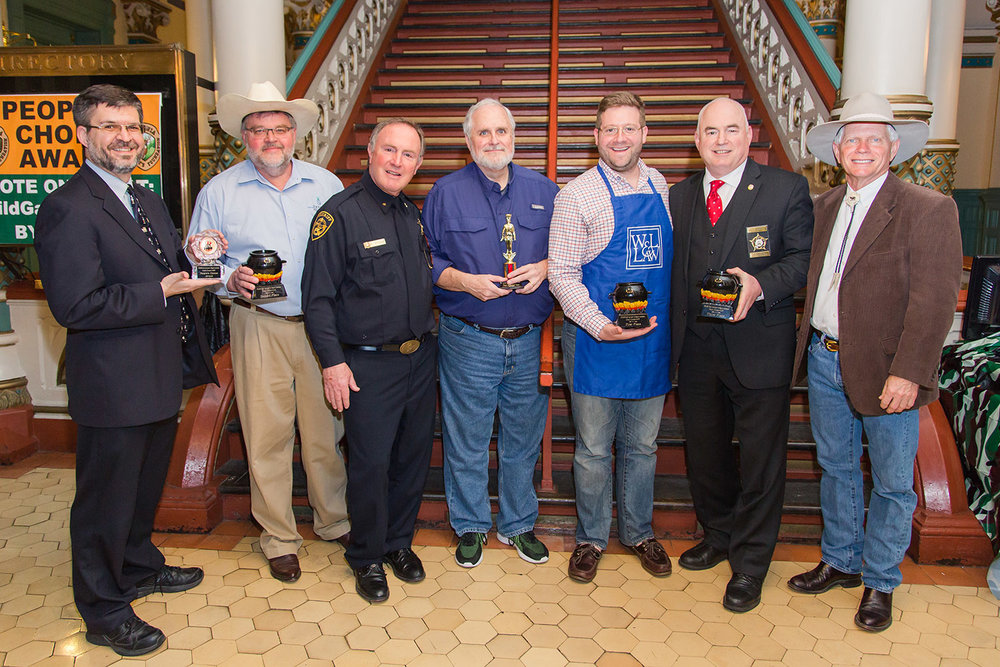 The 2018 Winners: Mike Skiffington (Department of Mines, Minerals & Energy), Eric Terry (Virginia Restaurant, Lodging & Travel Association), Sheriff Ken Stolle, Randy Bush, Evan Feinman, Kevin Carroll and Chief Judge Harold Ellis.