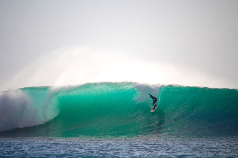 "A man dubbed ""The Frenchman""  caught the bluest barrel of the day."