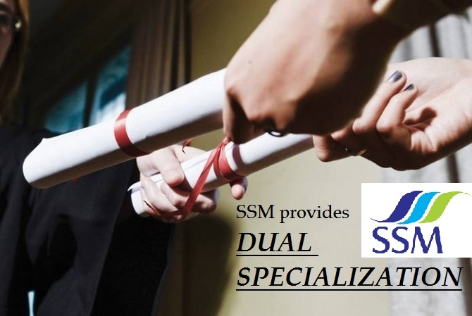 DUAL SPECIALIZATION : Students get the opportunity to specialize in Two functional areas like Marketing, Finance, HRM, Systems, International Business, Production & Operations, Hospital Management.