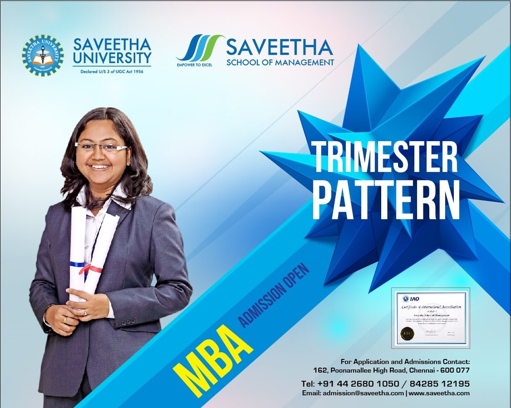 TRIMESTER PATTERN : SSm offers Two Years Full Time MBA programme in Trimester Pattern. In six Trimesters 32 Management subjects are covered.