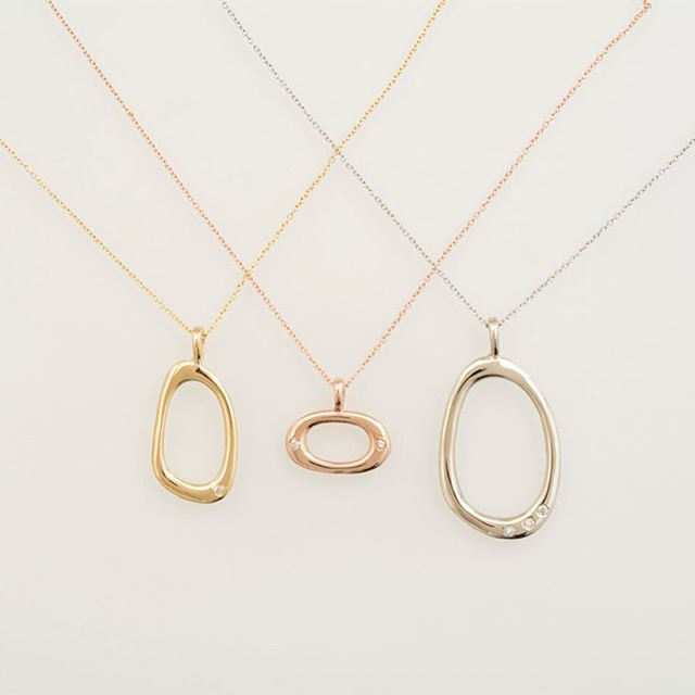 Loving our beautiful 14k yellow, rose, and white gold diamond necklaces. Now available on our website, link in bio.