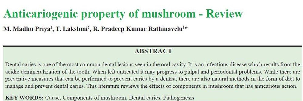 Anticariogenic Property of mushroom - Review -