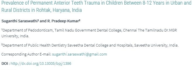 Permanent Anterior Teeth Trauma in 8-12 years in Urban and Rural Districts in Haryana… -