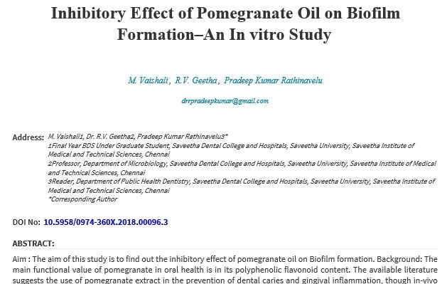 Inhibitory Effect of Pomegranate oil on Biofilm Formation -