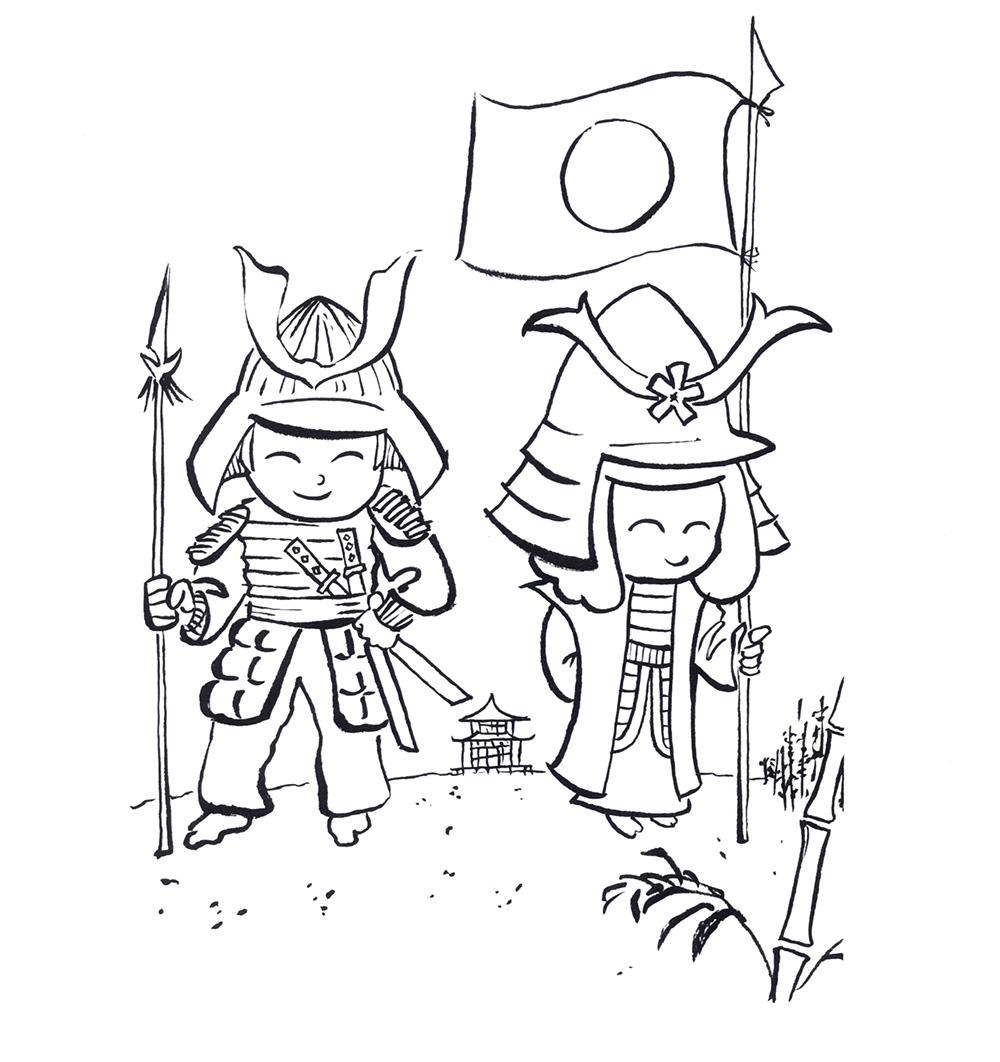 Kooko und Hanako als Samurai (Ausmalbild).jpg