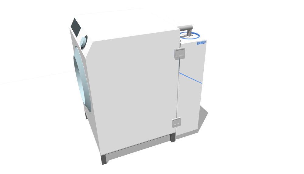 The modular system can be adapted in the back of the machine. It's only connection to the washing machine is through the inlet and outlet pipes.