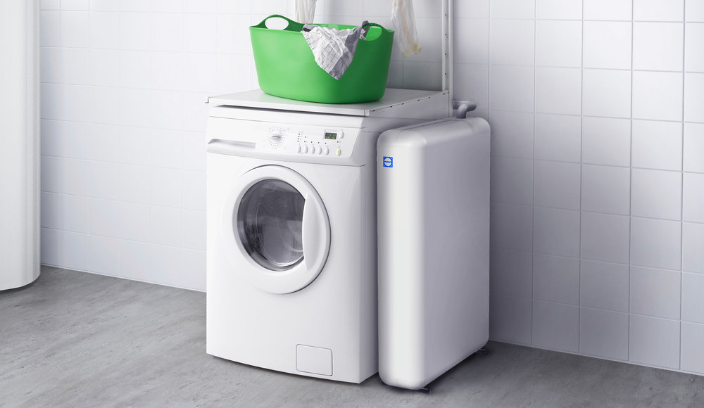 What we created. - An add-on system for washing machines. The Mimbox enables the recycling of water, lowers energy consumption, and prevents the spread of synthetic microfibres into the water mainstream. All within the same cycle.