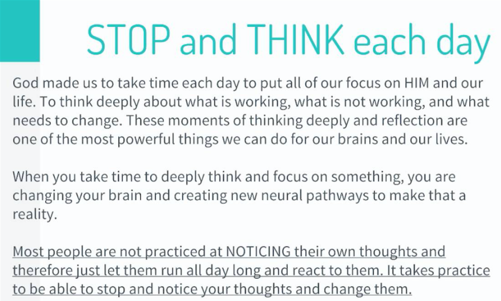 Stop and think each day