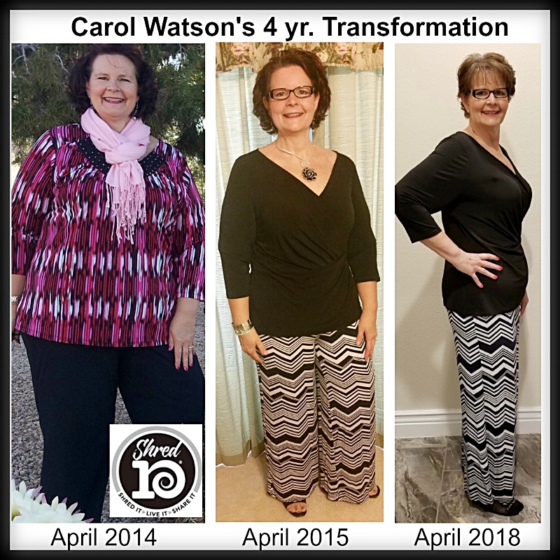 """This month, I am celebrating a long-time goal of reaching my wedding weight of 19 years ago by continuing my  #Shred10  journey of FOUR years! I didn't do it perfectly, but I never gave up!! No crash or fad diets, no surgery, no starvation, just good whole food nutrition and a few lifestyle changes to shred toxins, fat/pounds, negative thoughts and habits that weren't serving me.  April 15th, 2018 was my 4 year Anniversary and I am humbled and grateful for all the love and support from my Healthy Living Revolution Community!! I not only lost 75 pounds that first year (2014-2015) but I also gained vitality, mobility, and confidence while shredding bad habits, toxins, hormonal migraines, hot flashes and insomnia, low stamina, shortness of breath, swelling in ankles and SO much more! Four years later now and I not only maintained (within a few pounds) but I lost another 15# for a total weight loss of 90 pounds (and several sizes)!!! I went shopping today for some new clothes and I was SHOCKED! I am the smallest I have EVER been since high school!! Not that I am thin or skinny by any means, but for me, a size 16 IS """"small!"""" After 40+ years of living around size 24 and up!!! And may I say, I FEEL GREAT!  I have been honored to support and encourage countless others along my journey and my intention is to continue to not only make self-care a priority but also to serve as an inspiration and a """"frontlight"""" for others, leading the way! I give God the glory for it is Christ in me who gave me the HOPE and desire to care for this temple He gave me stewardship over so that I may better serve His purposes. Friends, there is NOTHING I could do to make God love me anymore and there is NOTHING I could do to make Him love me any less. My worthiness is found in Him and He loves me (and you) regardless of our size, our level of health/fitness, or success! I want to make this perfectly clear! God's love for us is unconditional regardless of our size but I believe He wants us to be in p"""