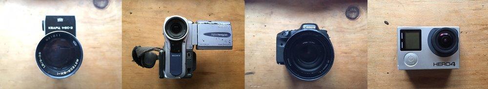 Soper 8, Mini-DV, Canon HD, GoPro