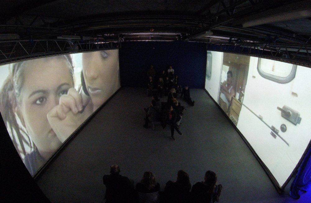 Room 1: The installation with two x 9m screens