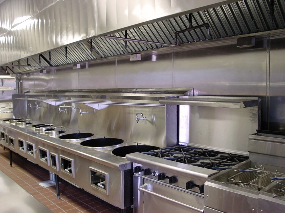 Big Stainless Steel Restaurant Kitchen Exhaust Hood With