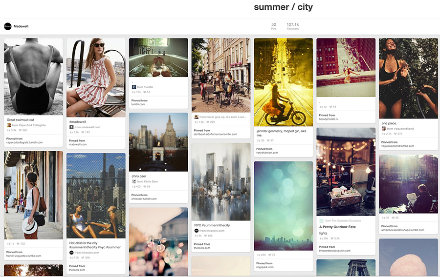 Madewell's storytelling Pinterest boards