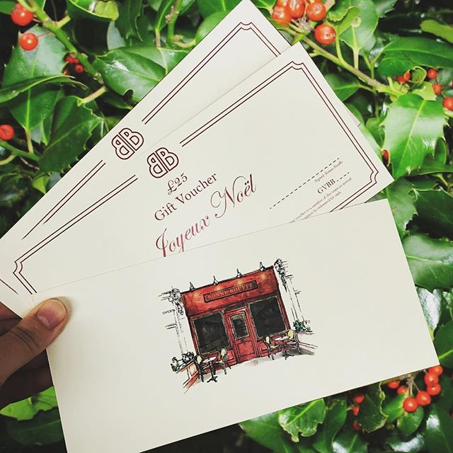 JOYEUX NOËL . . Our Bonne Bouffe Christmas gift vouchers are now available to buy! Voucher value is £25 (you can buy multiples if you are feeling generous ;) Pop into the restaurant to buy/collect or alternatively gift us a call and we can arrange to post them to you. #bonnebouffelondon #christmasvouchers #joyeuxnoel #christmaspresents #se22 #eastdulwich #shoplocal