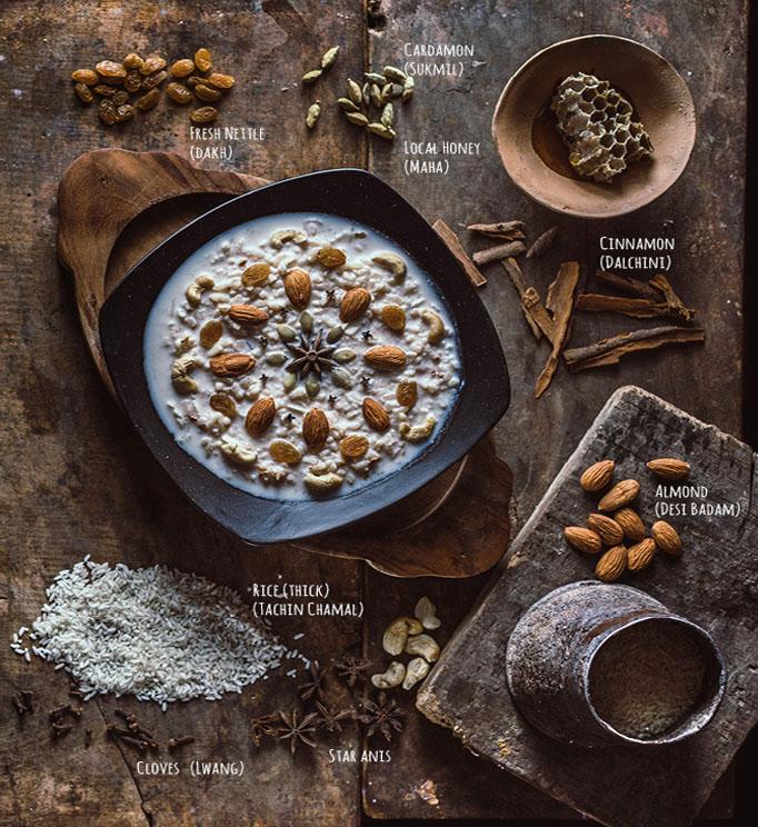 """Khir, éen van de vele smaakvolle recepten uit het aankomende kookboek getiteld """" Flavours of Nepal """"."""