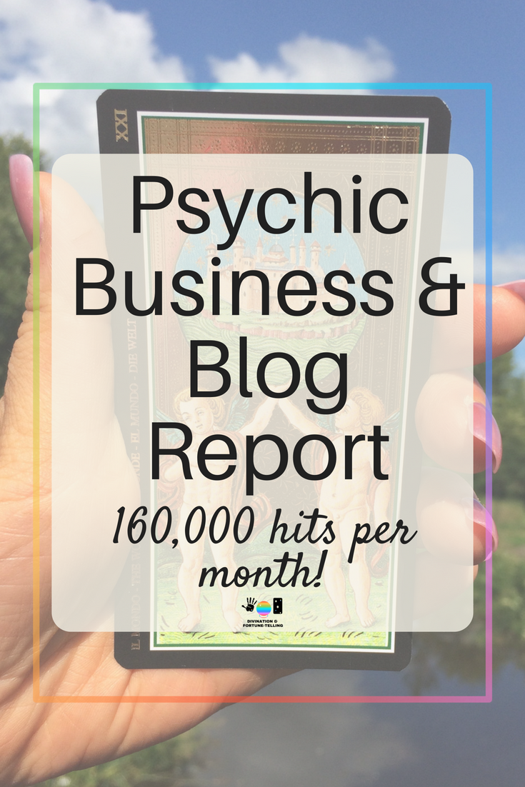 Blogging and website report which shows how I am growing my divination and fortune telling business to over 150,000 hits per month in my second year running the site. The tips and tricks in this report will help you if you are selling Tarot, astrology, intuitive, spiritual, yoga, palmistry, tea leaf, bone, mediumship and readings.