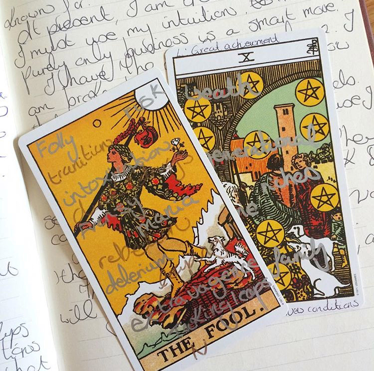 The dog on The Fool is wild and untamed. By the time we get to The 10 of Pentacles, the dog is trimmed. The Fool can now afford to buy professional pet grooming!