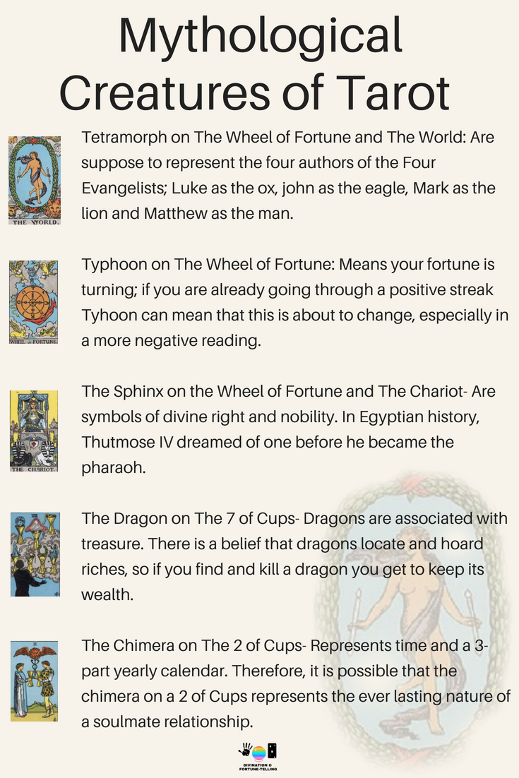 The mythological symbolism meanings of Tarot cards for beginners! If you're just learning how to read Tarot or practice divination and fortune telling, then learning the interpretations of signs and symbols is a good place to spend your time! Here, I am going to show you the meanings of the magic animals on The Rider Waite Tarot Card Deck including The World, The Wheel of Fortune, The Chariot, The 7 of Cups, The Two of Cups and more!