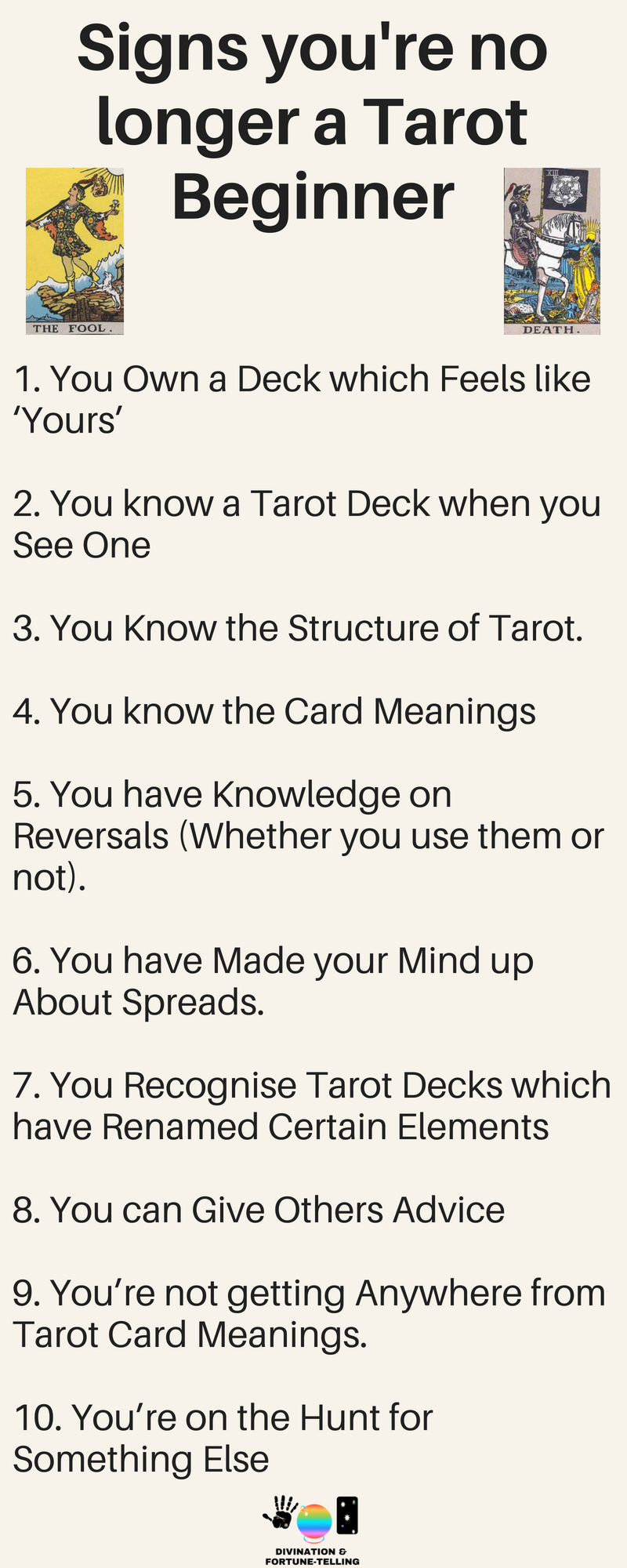 Cheatsheet: What are the signs you're no longer a Tarot beginner? How do you know that you're ready to advance your Tarot reading skills? How do you improve and develop your Tarot reading skills? When is it time to start learning how to read Tarot like a pro? Cards used are The Rider Death and The Fool Waite Smith Tarot - Divination and Fortune Telling