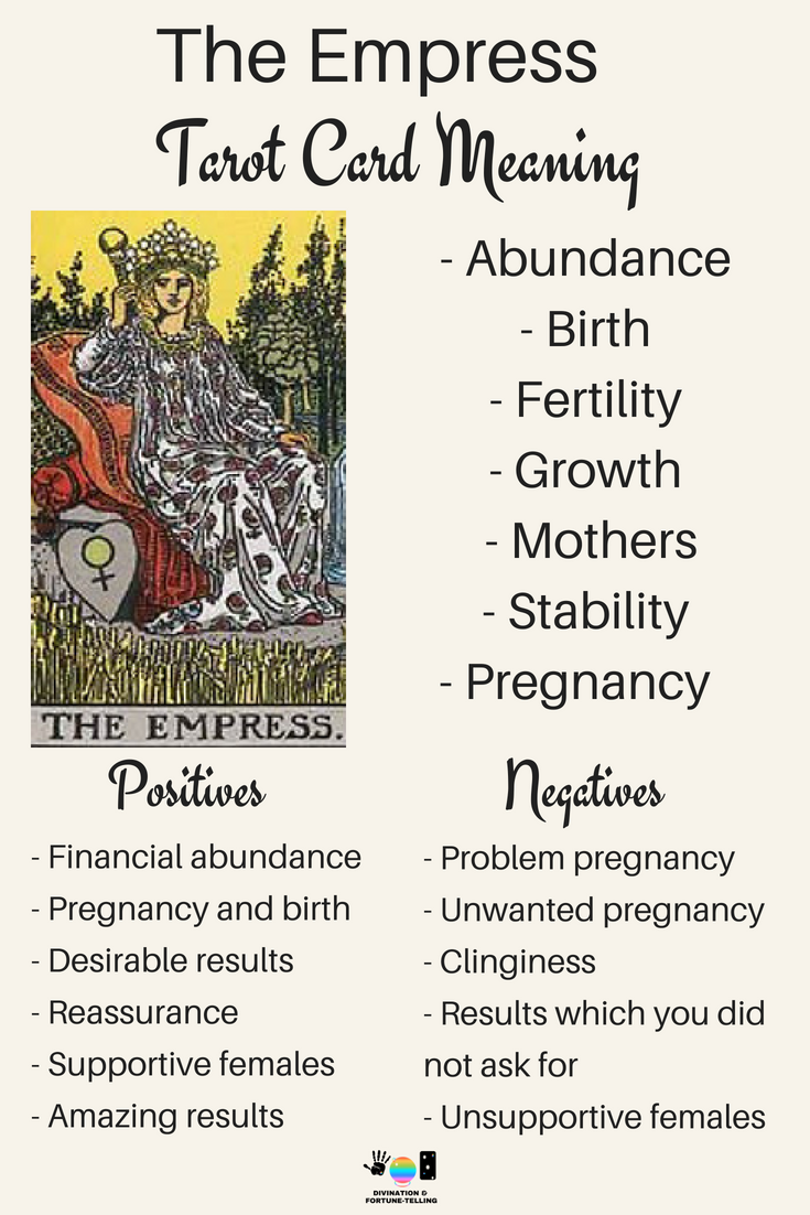 The Empress Tarot card meaning. An illustration from the Major Arcana with the Rider Waite Tarot deck. Post by divination and fortune-telling with Tarot for love, romance and relationships. Ideal for readers who are just learning the interpretations.