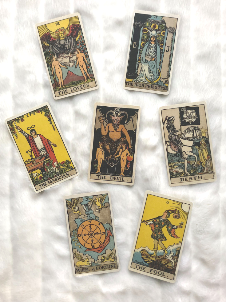 An example of the most loved cards in Tarot. From top to bottom: The Lovers, The High Priestess, The Magician, The Devil, Death, The Wheel of Fortune, The Fool.