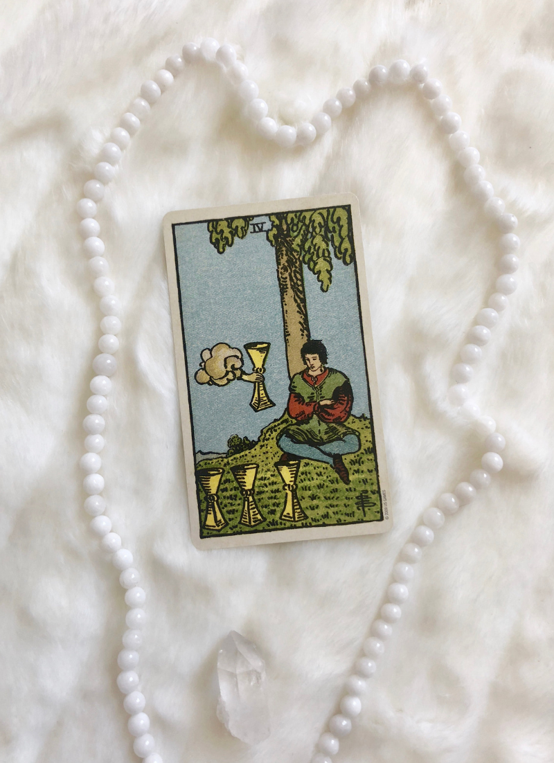 In a Tarot card reading, The Four of Cups in a spread can be a symbol of boredom. This post includes vintage and modern fortune telling meanings of the 4 of Cups, ideal for the advanced reader or those just learning the cards. These interpretations can be used with any of the decks (Rider Waite, Marseilles etc.) Cards used in this post are from Dame Darcy's Mermaid Tarot Deck.
