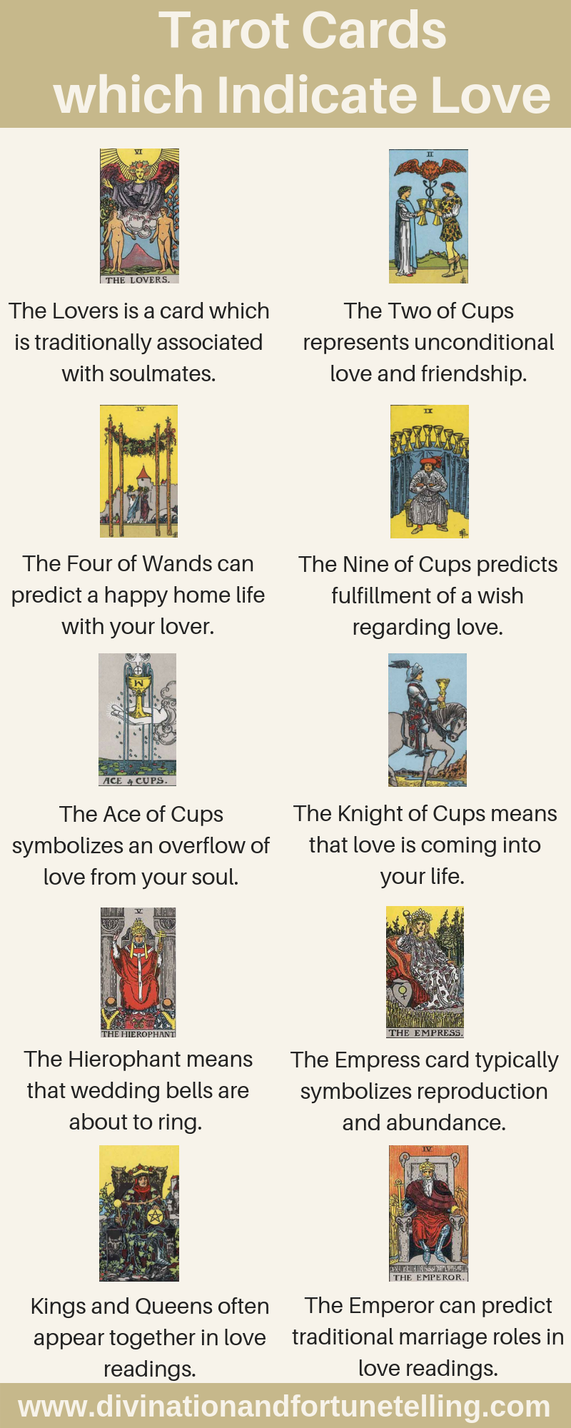 Art Illustration: Curious to discover which Tarot card represents a potential for love? Which Tarot cards should you be hoping for if you're performing a relationship reading? Which cards indicate that your romance is going to last? If you want to know which Tarot cards predict love, you're in luck! I have just the list for you below.