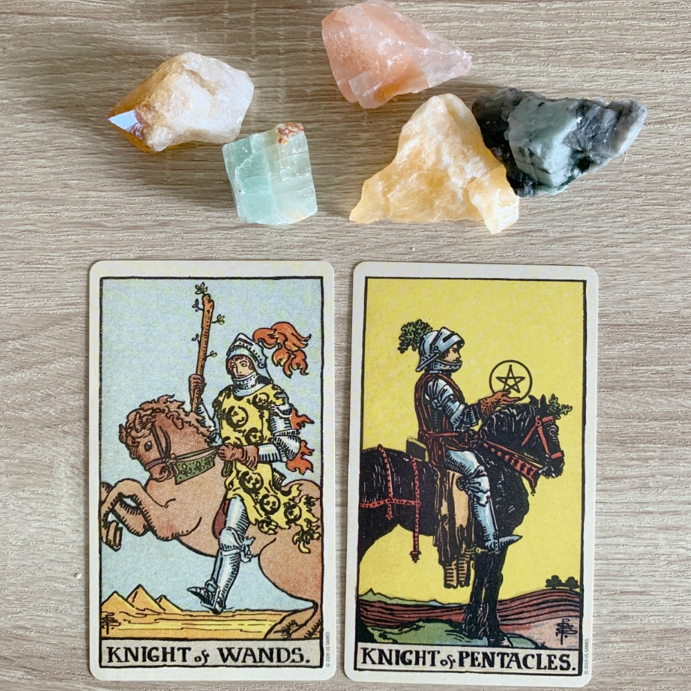 The Knight of Wands and the Knight of Pentacles are not facing; they are back to back. Some readers would take this to signify that the characters represented by these cards are not in agreement.