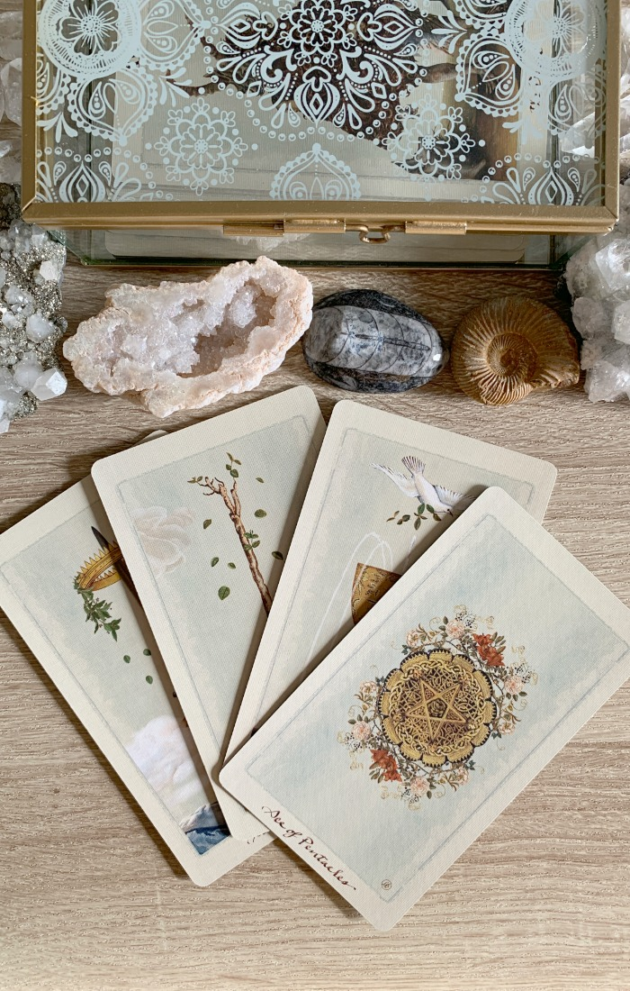 Multiple Aces in a Tarot card reading can indicate good fortune. Card deck used is The Pagan Otherworlds Tarot.