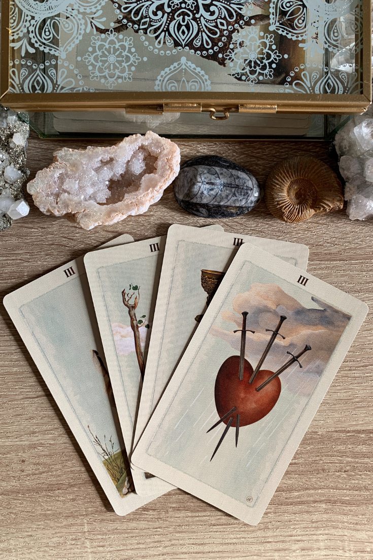 Multiple two, three, four  Threes in a Tarot card reading meaning. Lots of love and relationships..png