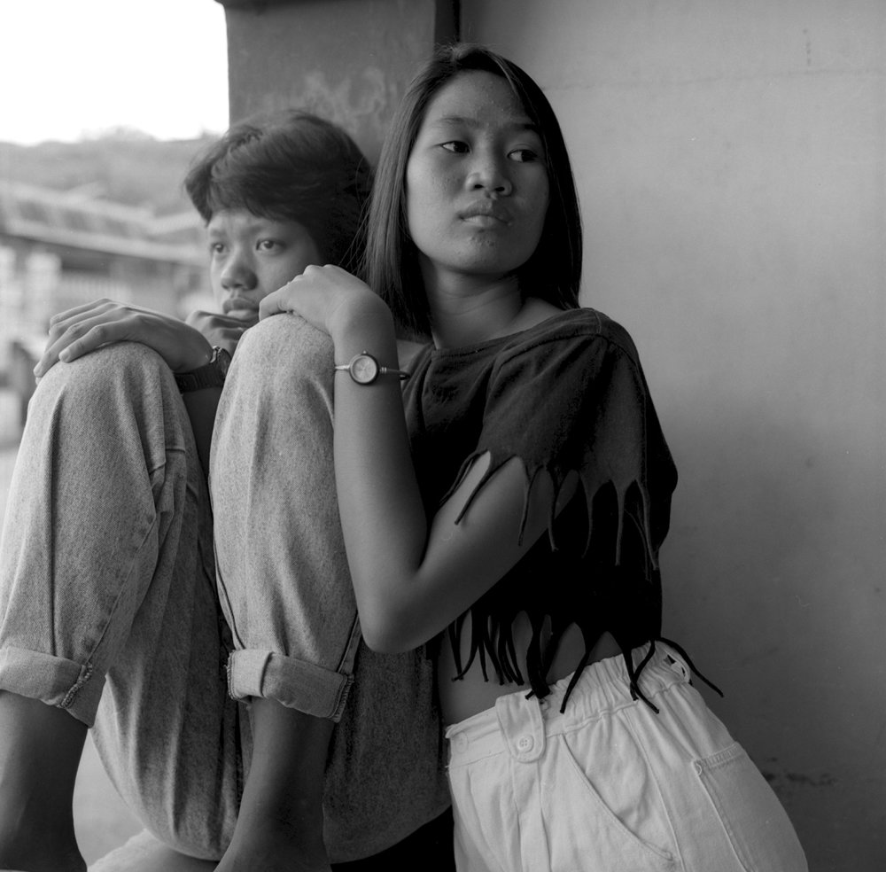 Two Young Women In Bar in Subic City, 1990