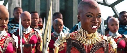 Florence Kasumba as Ayo and Danai Gurira as Okoye with the Dora Milaje in Black Panther. Marvel Studi os  The Strong and Dignified