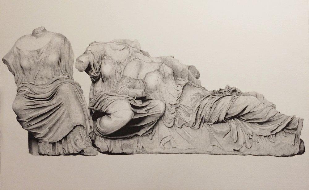 "Three Goddesses 24""x36"" Pen on Paper 2016"