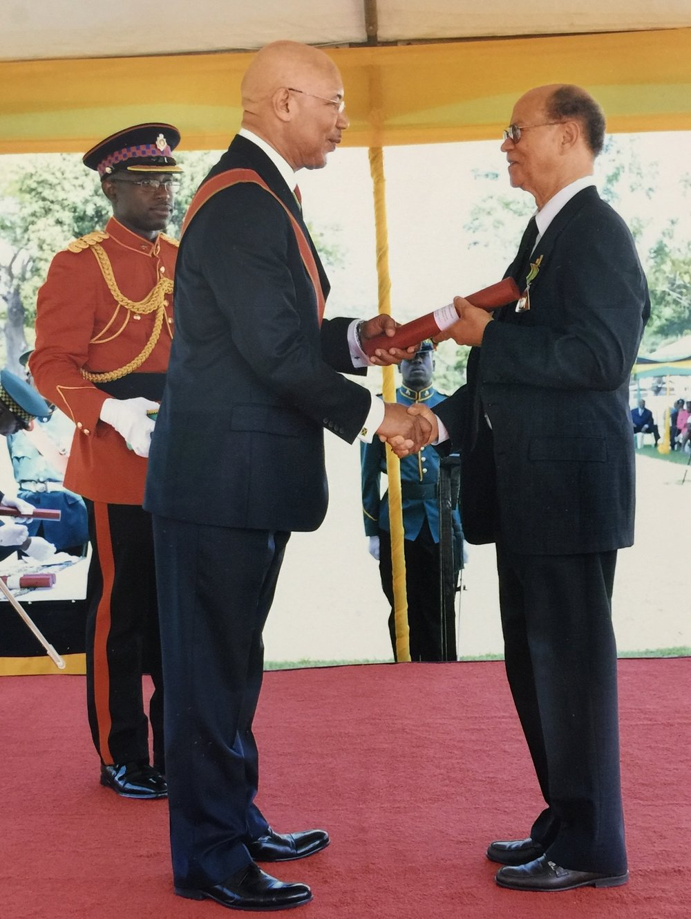 Tower Isles' President Mr. Patrick Jolly OD receiving his Order of Distinction; presented to him by the government of Jamaica by the Governor General of Jamaica.