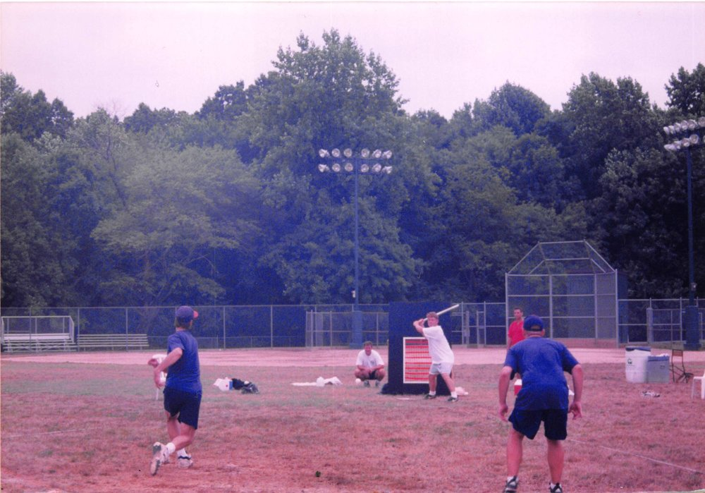 The Fluffheads' Lou Worthington delivers to Chilly Willer Blaster's Will Pinder in the finals of the 1999 MWA Wiffle Bash tournament.